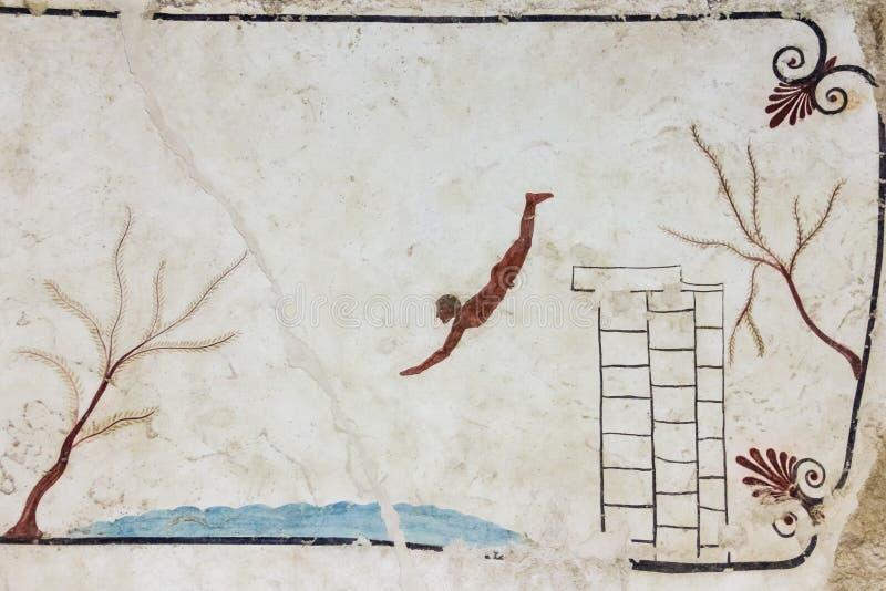 Het graf van de Lucanianfresko het schilderen Paestum salerno Campania Italië stock foto