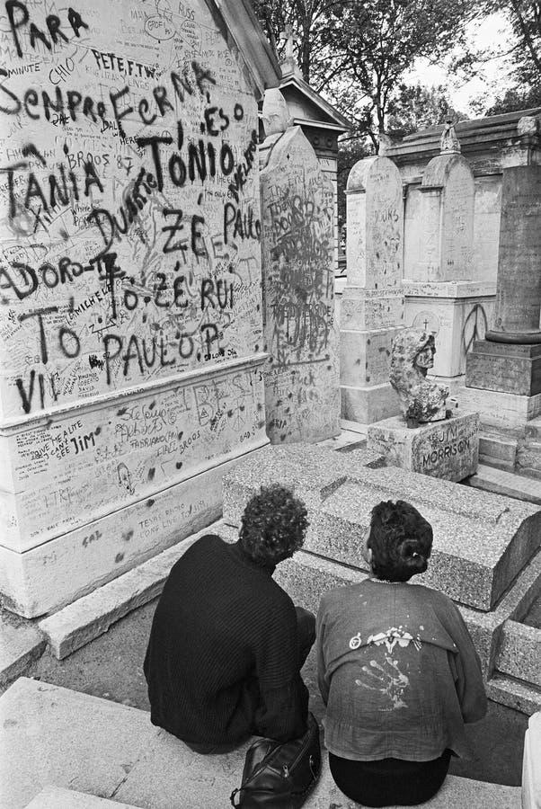 Het graf van Jim Morrison's, Parijs, Frankrijk 1987 stock fotografie
