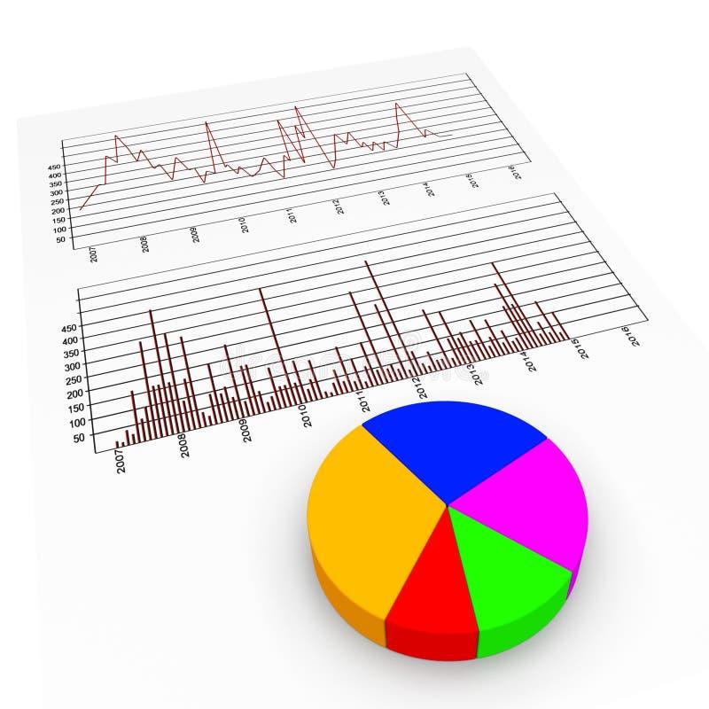 Het grafiekrapport betekent de Handel en het Diagram van Biz vector illustratie