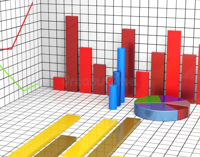 Het grafiekrapport toont Statistiekstatistieken en Infochart vector illustratie