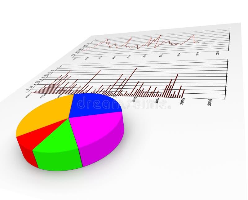 Het grafiekrapport vertegenwoordigt Collectieve Gegevens en Voorspelling vector illustratie