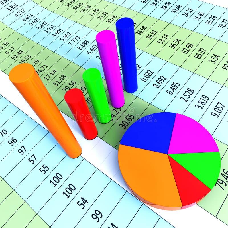 Het grafiekrapport vertegenwoordigt Collectieve Handel en Financiën vector illustratie