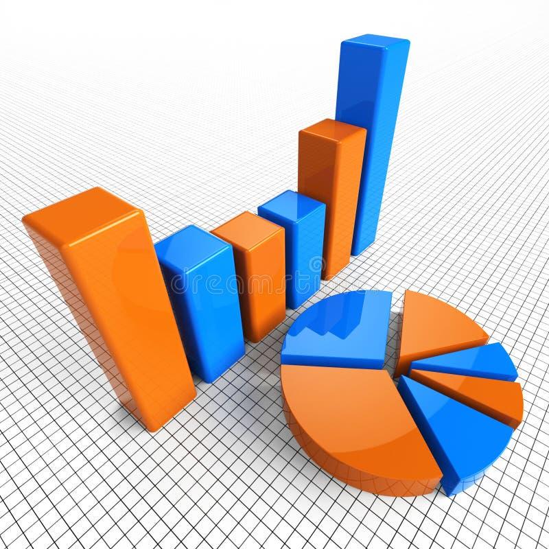 Het grafiekrapport wijst op Bedrijfsstatistiek en Diagram stock illustratie
