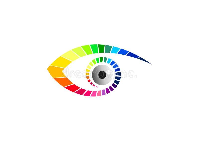 Het grafisch oogembleem, optisch symbool, pictogram van manierglazen, schoonheids visueel merk, luxevisie, en contactlensconcepto royalty-vrije illustratie