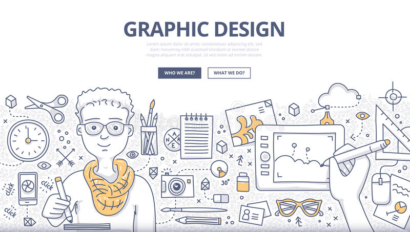 Het grafische Concept van de Ontwerpkrabbel royalty-vrije illustratie