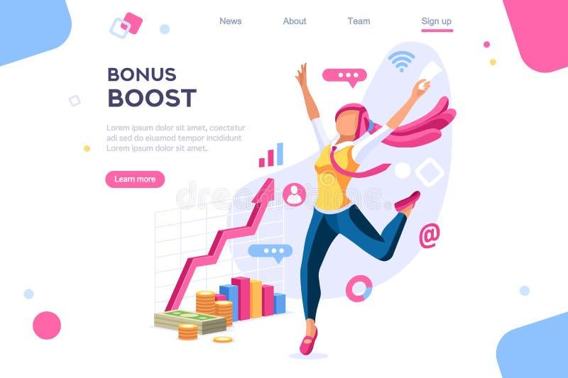 Het grafische de Vrouwenwerk van het Bonusbeheer stock illustratie