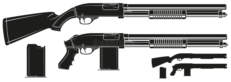 Het grafische geweer van het silhouetjachtgeweer met munitie-klem vector illustratie
