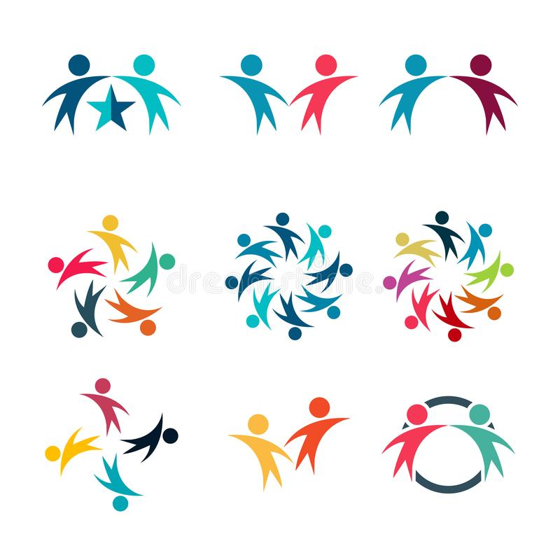 Het grafische groep verbinden, het embleemreeks van de Mensenverbinding, het Teamwerk in de handen van een cirkelholding, Bedrijf stock illustratie