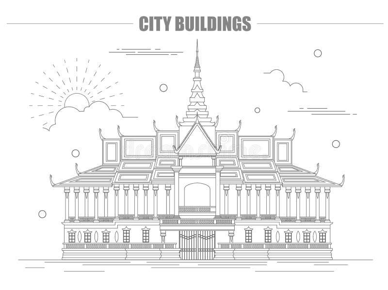 Het grafische malplaatje van stadsgebouwen Royal Palace kambodja royalty-vrije illustratie
