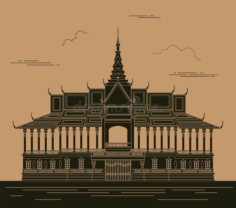 Het grafische malplaatje van stadsgebouwen Royal Palace kambodja vector illustratie