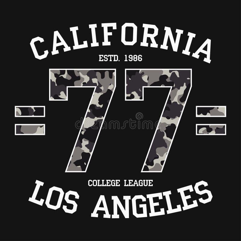 Het grafische ontwerp van Californië, Los Angeles voor t-shirt met camouflagetextuur en slogan La-de druk van het T-stukoverhemd  vector illustratie