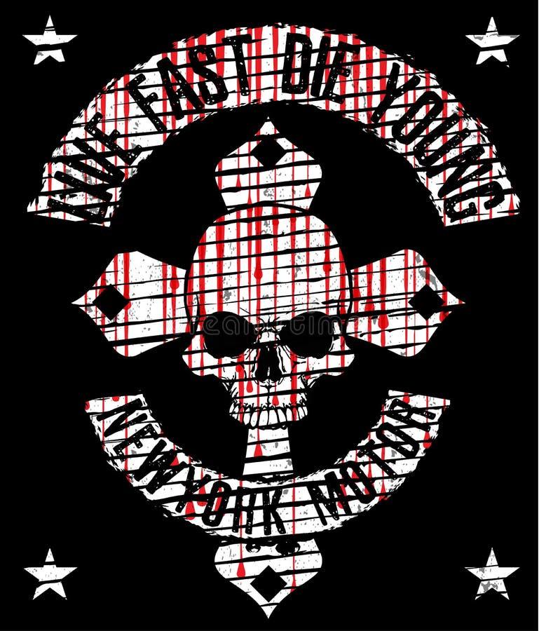 Het Grafische Ontwerp van de schedelt-shirt stock illustratie