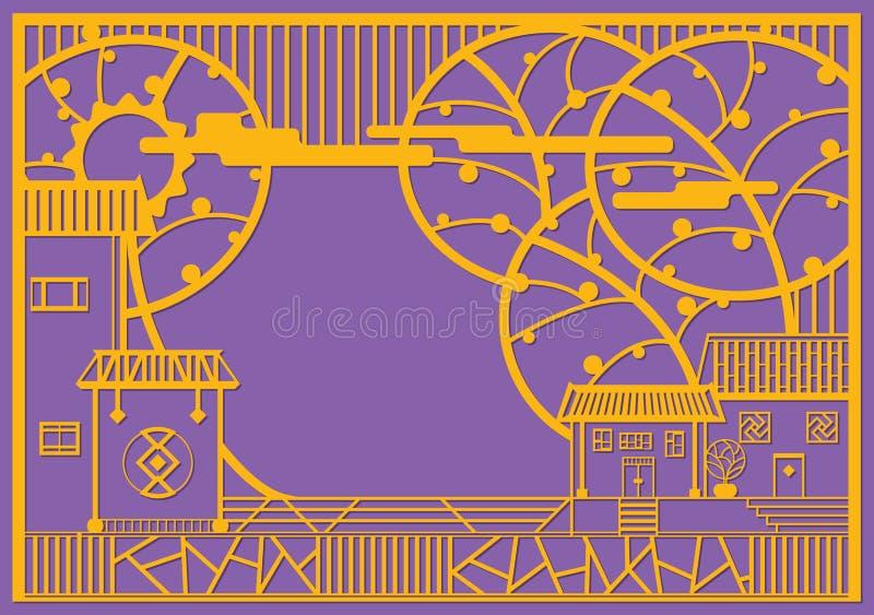 Het grafische ontwerp van het dorp in eigentijdse stijl stock illustratie