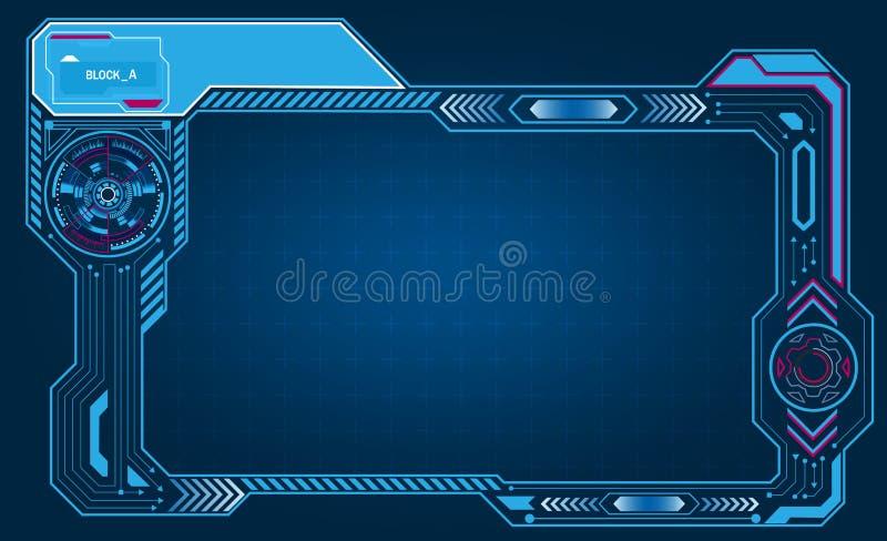 Het grafische paneel van de presentatie asymmetrische computer, kader, vertoning met controletechnologie Illustratie stock illustratie