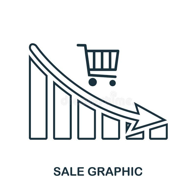 Het Grafische pictogram van de verkoopdaling Mobiele app, druk, websitepictogram Het eenvoudige element zingt Het zwart-wit Grafi royalty-vrije illustratie