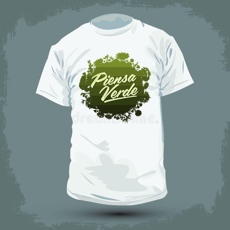 Het grafische T-shirtontwerp - Piensa Verde - denkt Groene Spaanse teksten vector illustratie