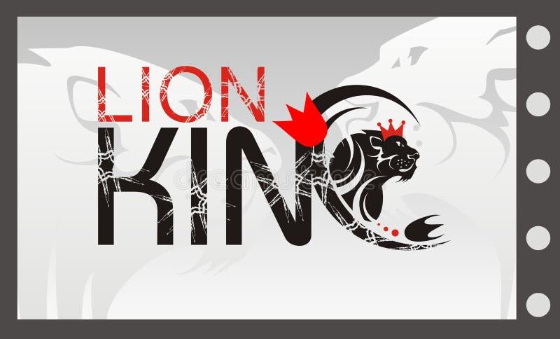 De Koning van de leeuw met een kroon, vectorleeuwsymbool vector illustratie