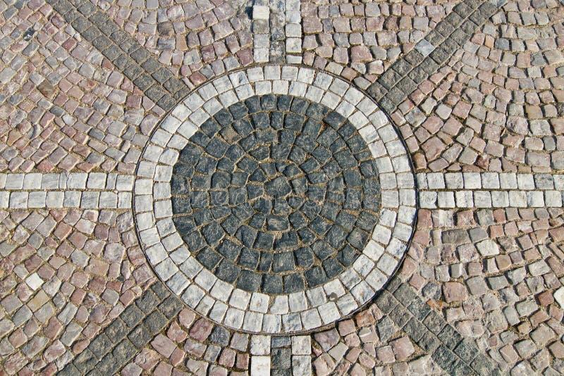 Het graniet cobblestoned bestratingsachtergrond royalty-vrije stock foto's