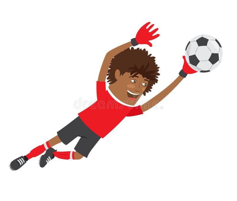 Het grappige Afrikaanse Amerikaanse de keeper van de voetbalvoetbalster dragen vector illustratie