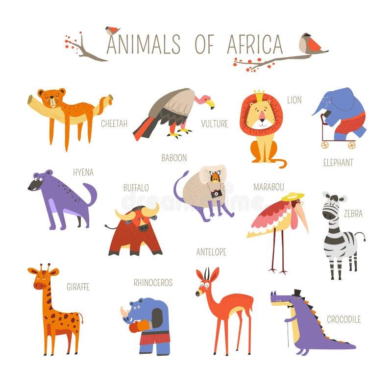 Het grappige Afrikaanse ontwerp van het dieren vectorbeeldverhaal vector illustratie