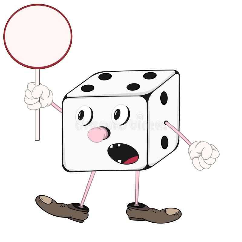 Het grappige beeldverhaal dobbelt met ogen, armen en benen houdend een rond teken in zijn hand en het gillen vector illustratie