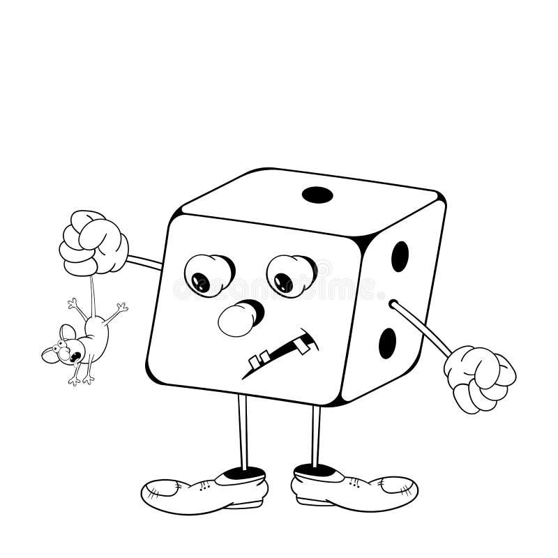 Het grappige beeldverhaal dobbelt spel die met ogen, armen en benen een kleine muis in zijn hand houden Zwart-witte kleuring royalty-vrije illustratie