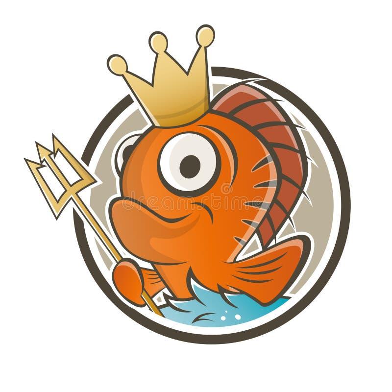 Het grappige beeldverhaal van de vissenkoning vector illustratie