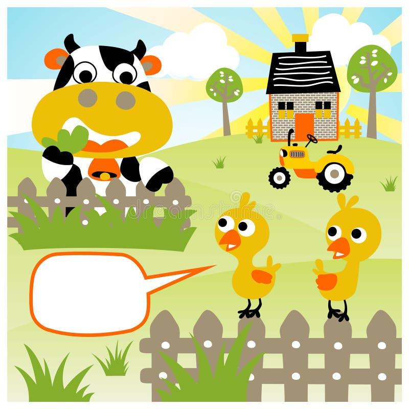 Het grappige beeldverhaal van landbouwbedrijfdieren bij de zomer royalty-vrije illustratie