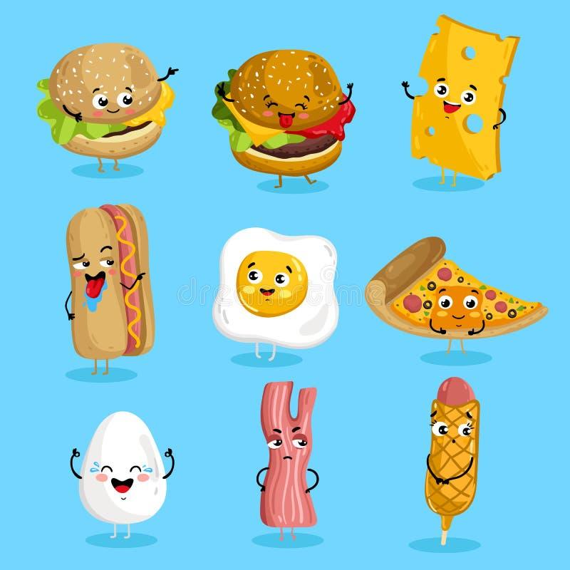 Het grappige beeldverhaal van snel voedselkarakters vector illustratie