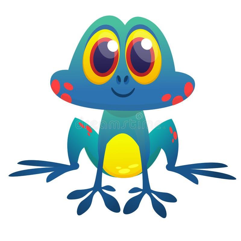 Het grappige blauwe zure karakter van het kikkerbeeldverhaal Vector illustratie royalty-vrije illustratie
