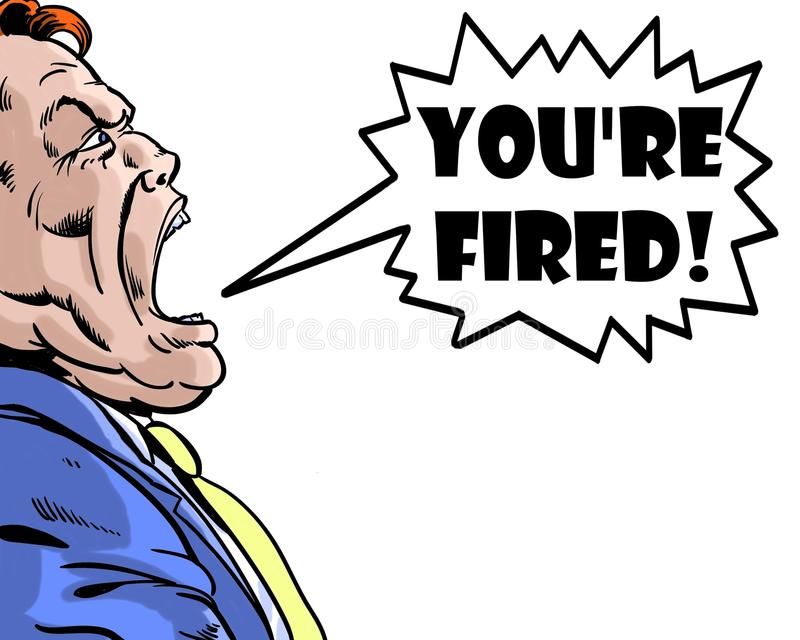 Het grappige boek illustreerde de boze werkgever die u met witte achtergrond in brand wordt gestoken schreeuwen royalty-vrije illustratie