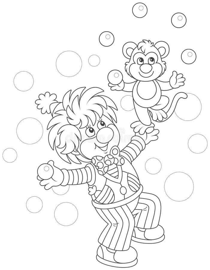 Het grappige clown spelen met een aap stock illustratie