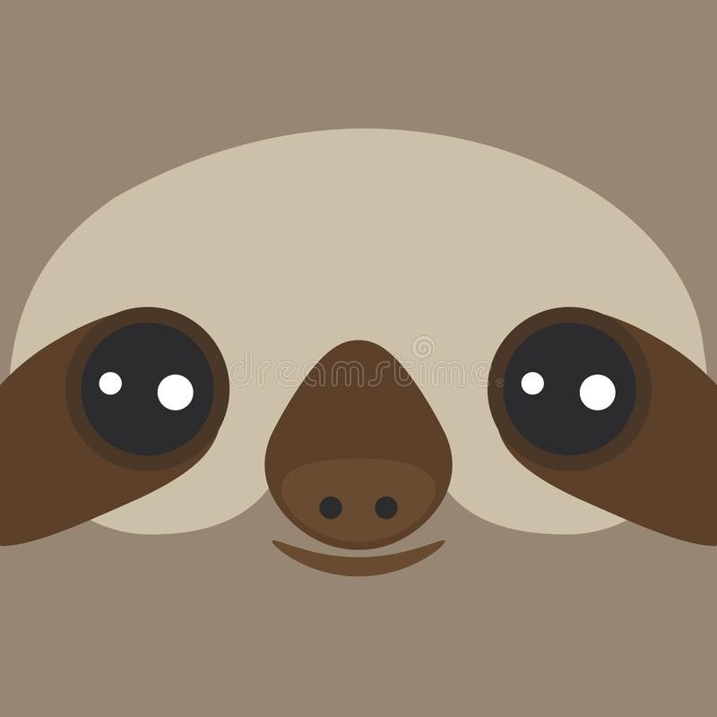 Het grappige en leuke glimlachen drie-Toed luiaard op bruine achtergrond Vector stock illustratie