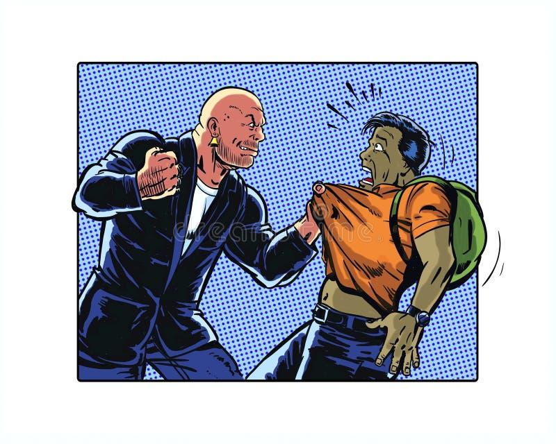 Het grappige geïllustreerde boek intimideert karakter die een jonge mens terroriseren die een rugzak dragen vector illustratie