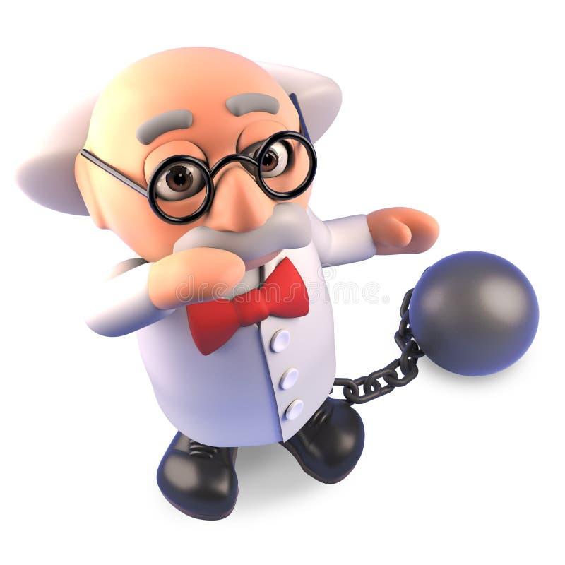 Het grappige gekke karakter die van de wetenschapperprofessor een bal en een ketting dragen als straf, 3d illustratie royalty-vrije illustratie