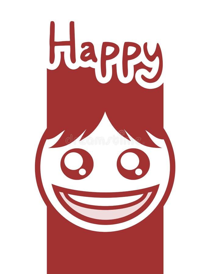 Het grappige gelukkige gezicht trekt vector illustratie