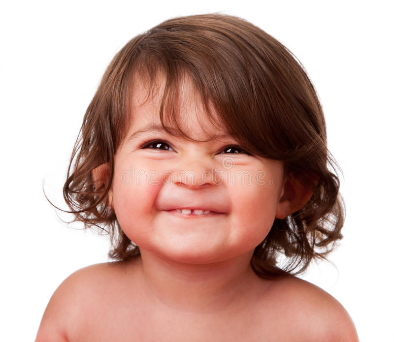 Het grappige gelukkige gezicht van de babypeuter royalty-vrije stock fotografie
