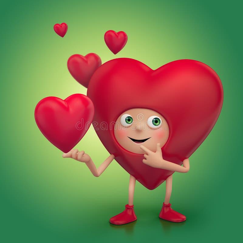 Het grappige gelukkige glimlachende karakter van het hartbeeldverhaal stock illustratie