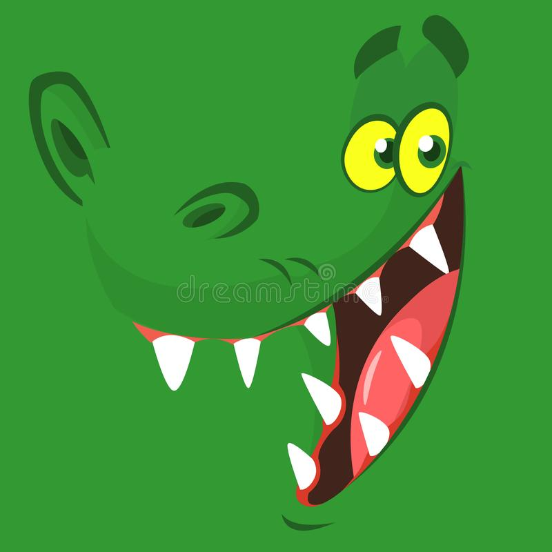 Het grappige gezicht van de beeldverhaalkrokodil Vector illustratie Ontwerp voor druk, mascotte of van het kinderenboek illustrat royalty-vrije illustratie