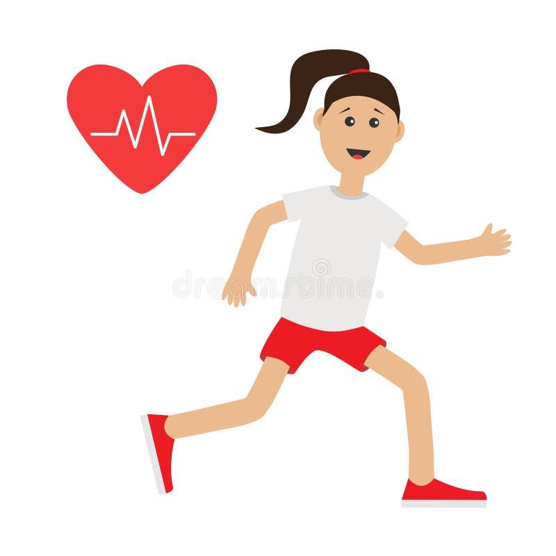 Het grappige Hart van het beeldverhaal lopende meisje sloeg de vrouwenjogging van de pictogram Leuke looppas de cardiotraining di stock illustratie