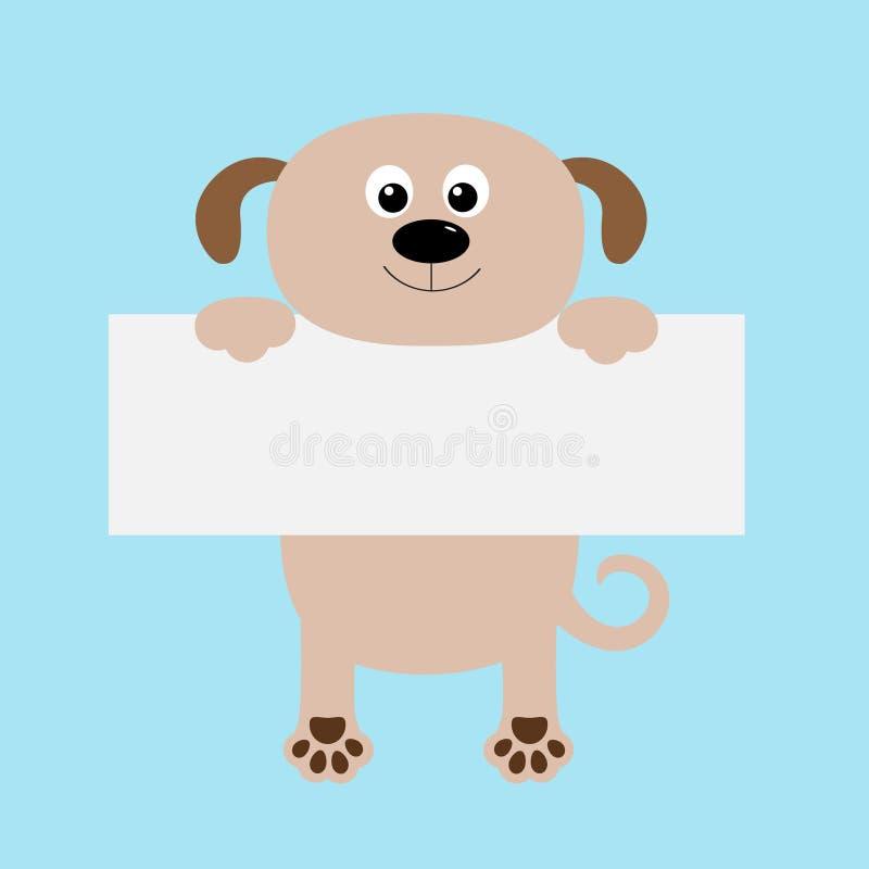Het grappige hond hangen op kartonmalplaatje Grote Ogen Het dierlijke lichaam van het Kawaiipuppy Leuk beeldverhaalkarakter De ka vector illustratie
