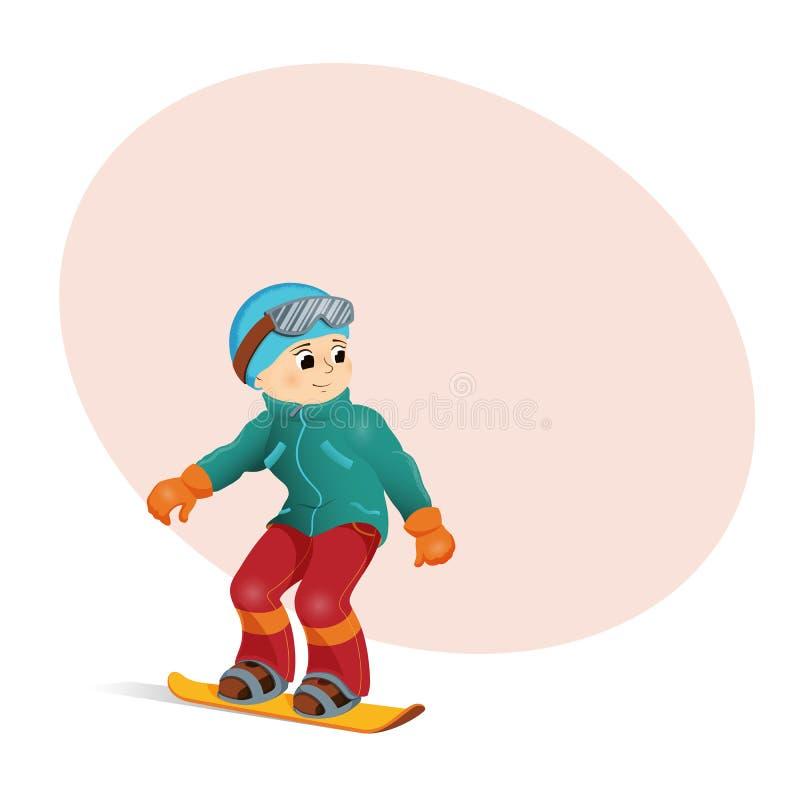 Het grappige jongen bergaf snowboarding, plaats voor tekst royalty-vrije illustratie