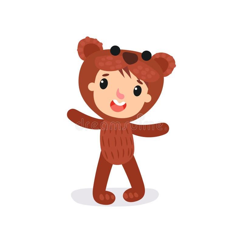 Het grappige jongen of meisjeskarakter in bruine pluche draagt kostuum Kind die dierlijk Carnaval dragen jumpsuit Vlak vectorontw stock illustratie
