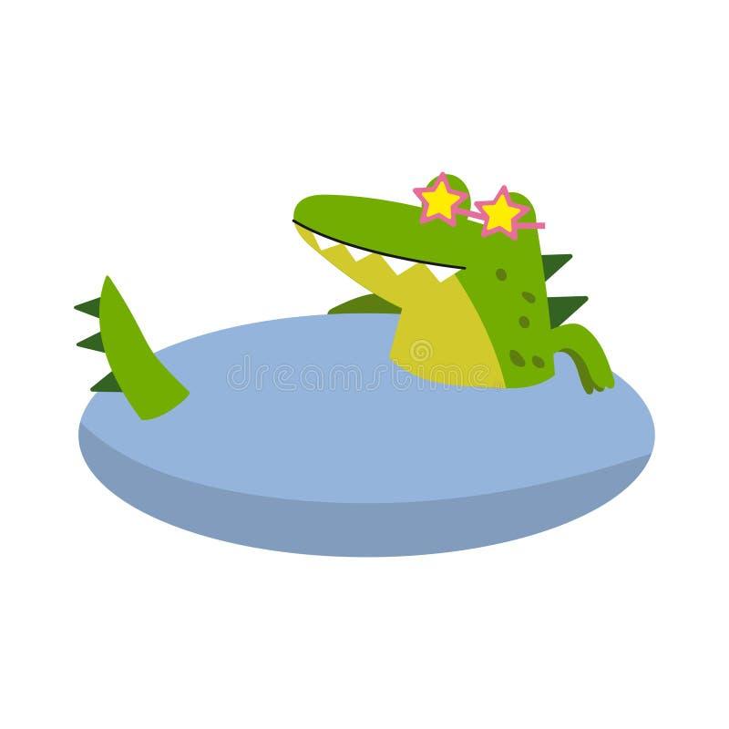 Het grappige karakter die van de beeldverhaalkrokodil glazen dragen die in een vijver vectorillustratie zwemmen royalty-vrije illustratie