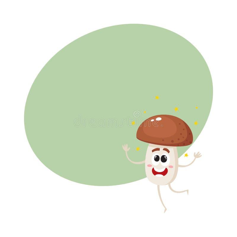 Het grappige karakter die van de porcinipaddestoel van geluk glanzen, die excitedly springen stock illustratie