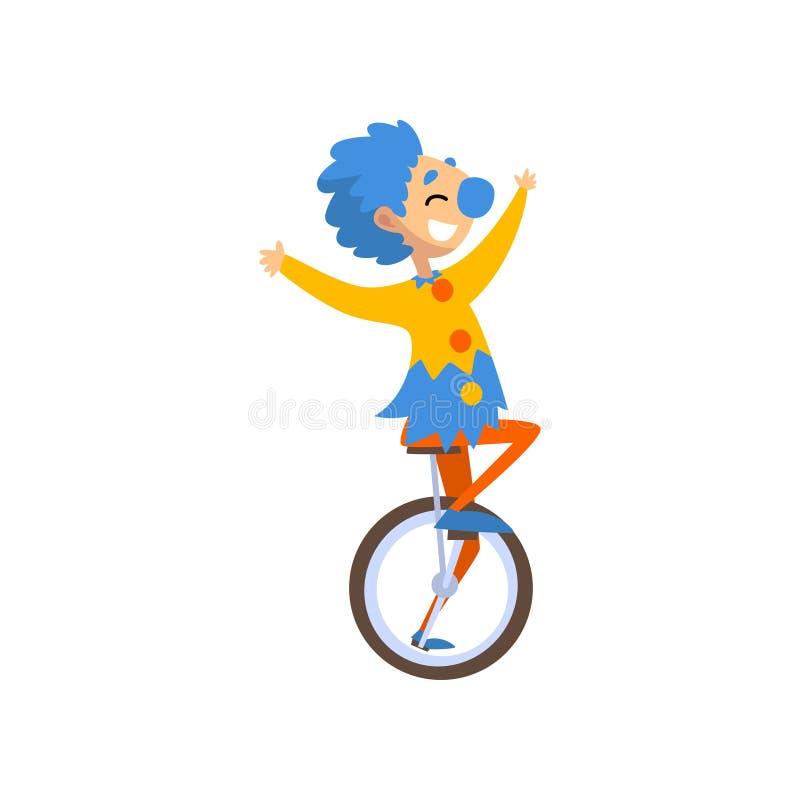 Het grappige karakter van het clownbeeldverhaal unicycle, verjaardag, Carnaval-partij of de vectorillustratie die van circusprest royalty-vrije illustratie