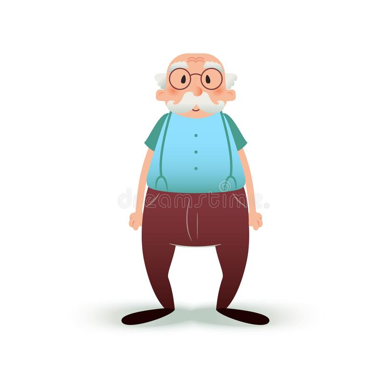 Het grappige karakter van de beeldverhaal oude mens Oudste in glazen en met een snor Grootvaderillustratie op wit stock illustratie