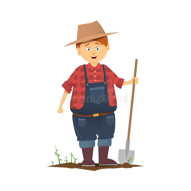 Het grappige karakter van de beeldverhaallandbouwer royalty-vrije illustratie
