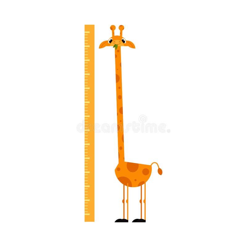 Het grappige karakter van het girafbeeldverhaal met lange hals die zich naast die schaal bevinden op witte achtergrond wordt geïs royalty-vrije illustratie
