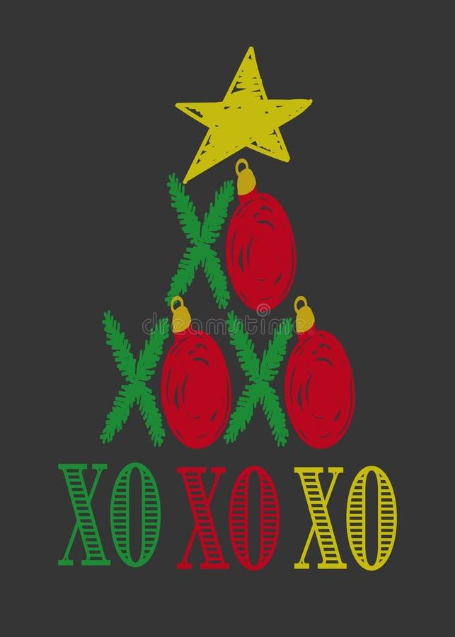 Het grappige Kerstkaartmalplaatje, de Kerstboomtakken met rode snuisterijen en Kerstmis spelen, Hand getrokken Kerstkaartvector m vector illustratie